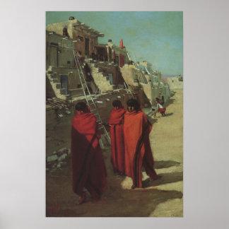 Vintage Native American, Hopi Pueblo by Louis Akin Poster