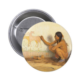 Vintage Native American, Indian Artist by Couse 2 Inch Round Button