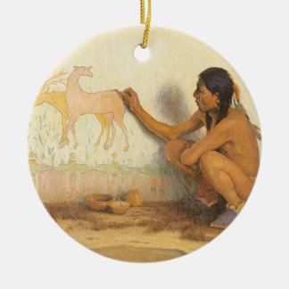 Vintage Native American, Indian Artist by Couse Double-Sided Ceramic Round Christmas Ornament