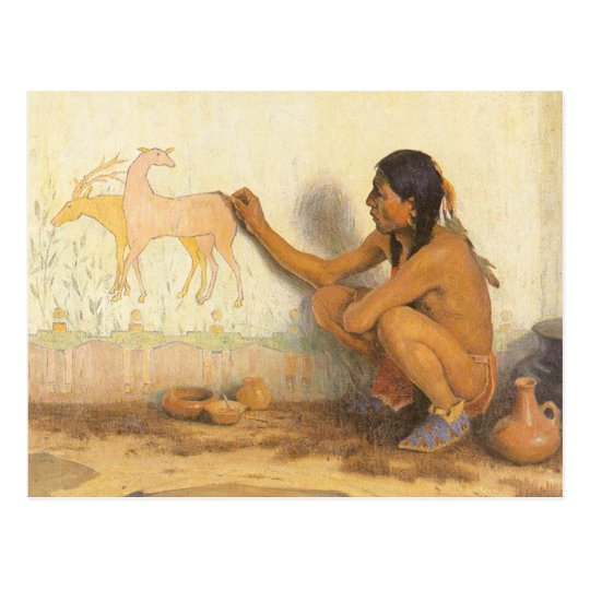 Vintage Native American, Indian Artist by Couse Postcard