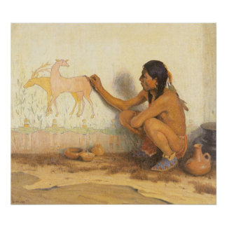 Vintage Native American, Indian Artist by Couse Poster