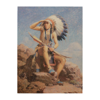 Vintage Native American Indian, The Scout by Leigh Wood Wall Art