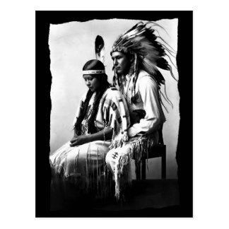 Vintage Native American Love couple Bannock Tribe  Postcard