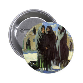 Vintage Native American, Taos Girls by Walter Ufer 2 Inch Round Button