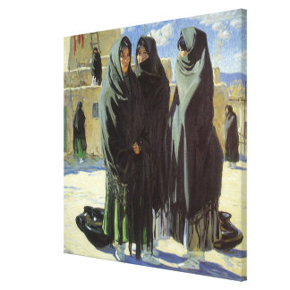 Vintage Native American, Taos Girls by Walter Ufer Canvas Print