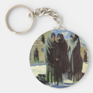 Vintage Native American, Taos Girls by Walter Ufer Keychain