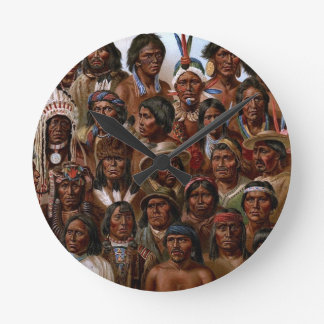 Vintage Native American tribes and peoples picture Wall Clocks
