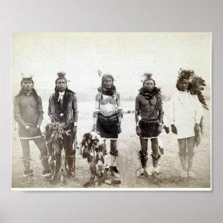 Vintage Native American Warrior Group Poster