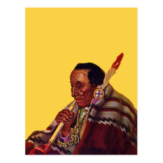 Vintage Native American Warrior Peace Pipe Postcard