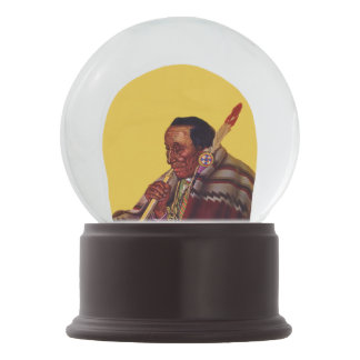 Vintage Native American Warrior Peace Pipe Snow Globe