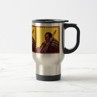 Vintage Native American Warrior Peace Pipe Travel Mug
