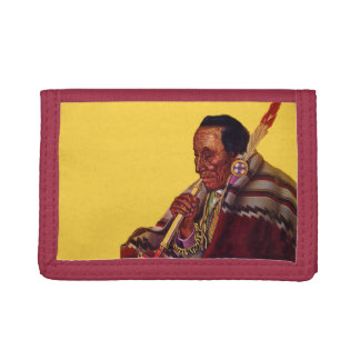 Vintage Native American Warrior Peace Pipe Trifold Wallet