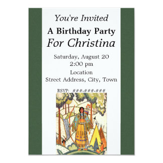 Vintage Native American Woman Village Birthday 4.5x6.25 Paper Invitation Card