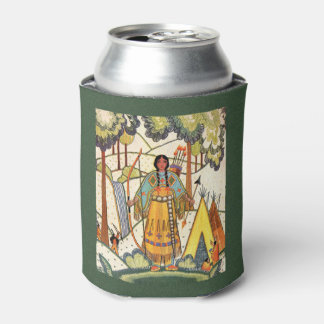 Vintage Native American Woman Village Forest Can Cooler