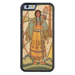 Vintage Native American Woman Village Forest Carved Maple iPhone 6 Bumper Case
