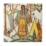 """Vintage Native American Woman Village Forest Ceramic Tile<br><div class=""""desc"""">This is a vintage image of a Native American female in traditional dress in her village with teepees in the forest.  See my store Art by MAR for matching products with this design.</div>"""