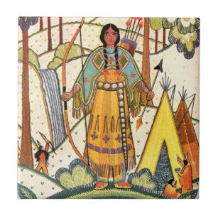 Vintage Native American Woman Village Forest Ceramic Tile