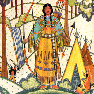 Vintage Native American Woman Village Forest Ceramic Tile