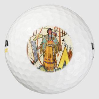 Vintage Native American Woman Village Forest Golf Balls
