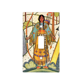 Vintage Native American Woman Village Forest Light Switch Covers