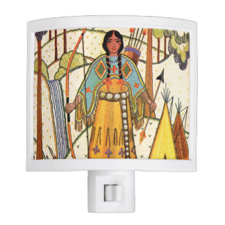 Vintage Native American Woman Village Forest Night Light