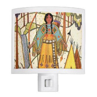 Vintage Native American Woman Village Forest Night Light