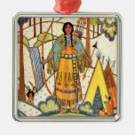 Vintage Native American Woman Village Forest Square Metal Christmas Ornament