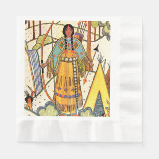 Vintage Native American Woman Village Forest Coined Luncheon Napkin