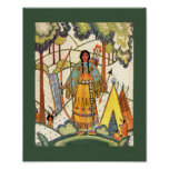 Vintage Native American Woman Village Forest Poster
