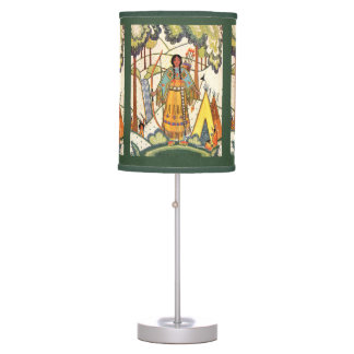 Vintage Native American Woman Village Forest Table Lamp