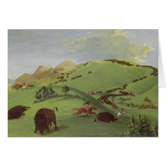 Vintage Native Americans, Buffalo Chase by Catlin Card