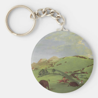 Vintage Native Americans, Buffalo Chase by Catlin Keychain