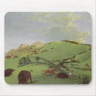 Vintage Native Americans, Buffalo Chase by Catlin Mouse Pad