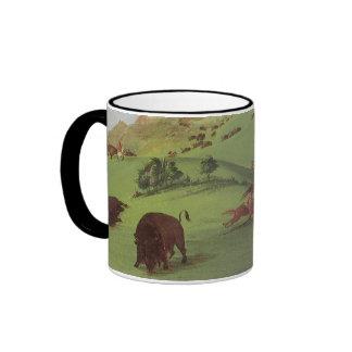 Vintage Native Americans, Buffalo Chase by Catlin Ringer Coffee Mug