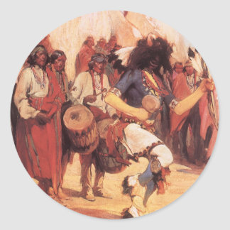 Vintage Native Americans, Buffalo Dance by Cassidy Classic Round Sticker