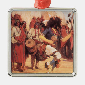 Vintage Native Americans, Buffalo Dance by Cassidy Square Metal Christmas Ornament