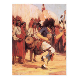 Vintage Native Americans, Buffalo Dance by Cassidy Postcard