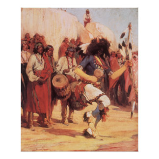 Vintage Native Americans, Buffalo Dance by Cassidy Poster