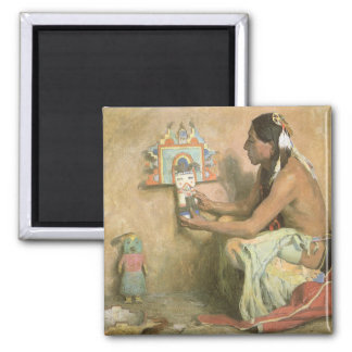 Vintage Native Americans, Hopi Katchina by Couse 2 Inch Square Magnet