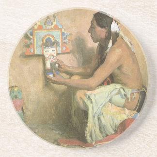 Vintage Native Americans, Hopi Katchina by Couse Drink Coaster