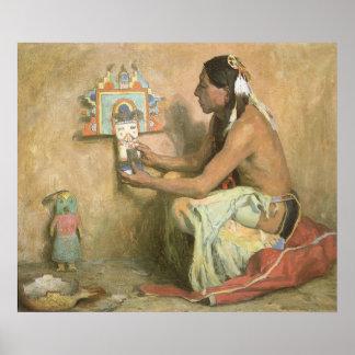 Vintage Native Americans, Hopi Katchina by Couse Poster