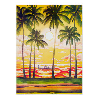 Vintage Native Canoe Airline Hawaii Travel Poster