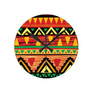 Vintage Native Ethnic Tribal Pattern Set Watch Round Clock
