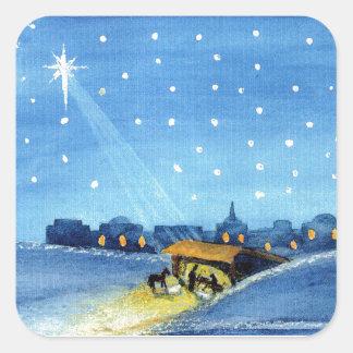 Vintage Nativity Art Square Sticker