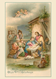 Vintage Nativity Christmas Greeting Card