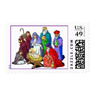 Vintage Nativity Christmas Postage Stamps