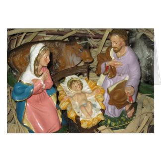 Vintage Nativity Manger Scene Christmas Card
