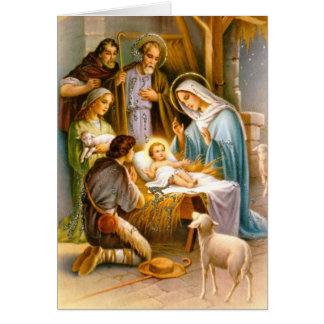 Vintage nativity scene card