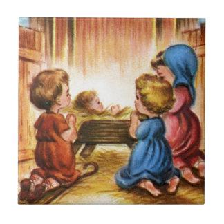 Vintage Nativity Scene Ceramic Tile