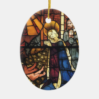 Vintage Nativity Scene in Stained Glass Christmas Tree Ornament